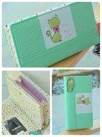 (พร้อมส่ง)กระเป๋าสตางค์เกาหลี CAT-CAT สีเขียว