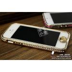 เคส iPhone 5 กรอบเพชร (เพชรคลุมปุ่ม Home) - สีทอง
