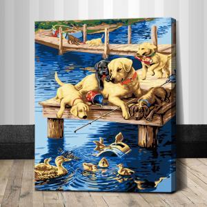 """TG296 ภาพระบายสีตามตัวเลข """"ครอบครัวหมากับเป็ด"""""""