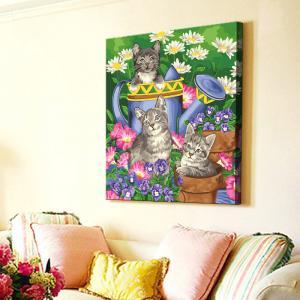 """TMC008 ภาพระบายสีตามตัวเลข """"แมวน้อยกับบัวรดน้ำดอกไม้"""""""