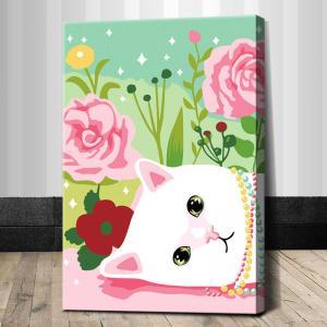 """TC077 ภาพระบายสีตามตัวเลข """"แมวน้อยกับดอกไม้สีหวาน"""""""