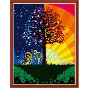 """MMC093 ภาพระบายสีตามตัวเลข """"ต้นไม้ทิวาราตรี"""""""