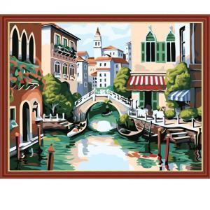 """MG175 ภาพระบายสีตามตัวเลข """"สะพานข้ามคลองเวนิส"""""""