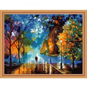 """MQ057 ภาพระบายสีตามตัวเลข """"เดินกลางถนนในคืนฤดูหนาว"""""""