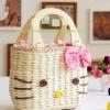 กระเป๋าสาน คิตตี้ สีชมพู แสนน่ารัก สายไม้เคลือบ แฟชั่นญี่ปุ่น