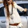 เสื้อตัวยาว สวยๆ ผ้าคอตตอน สีขาว แต่งลูกไม้ แฟชั่นญี่ปุ่น