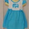 ชุดกระโปรงเด็กหญิงสไตล์ไทย สีฟ้า ประดับตุ๊กตาช้างตัวเล็กที่ด้านหน้า น่ารักมาก (size 1-4 ขวบ ไม่ต้องเผื่อ size นะคะ ชุดมีกระดุมหลังค่ะ ถ้าเผื่อ เผื่อแค่ 1 นิ้วพอค่ะ)