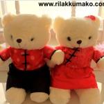 ตุ๊กตาหมี ชุดแต่งงานจีน ขนปุย สูง 15นิ้ว (499บาท ได้ทั้ง2ตัว)
