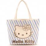 [Preorder] กระเป๋าผ้าเก๋ๆ Hello Kitty ลายทางสีฟ้า Value Special hello kitty cute shoulder bag handbag bag creative cartoon Hello Kitty canvas bag