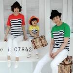 ชุดครอบครัว เสื้อครอบครัวเสื้อยืดคอกลม ลายขวางสามสี C7842 - พร้อมส่ง