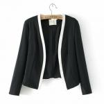 [Preorder] เสื้อสูททำงานแฟชั่นแขนยาวสไตล์ยุโรป สีดำ (ไซส์ S M L) 2014 Hitz European and American style star with Sun Li Gao Yuanyuan placket mixed colors suit women suit jacket