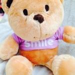 """ตุ๊กตาหมีใส่เสื้อ ตัวเล็กน่ารัก เสื้อสีม่วงปักลาย """" Smile """" ขนาด 40 CM"""