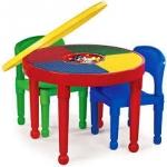 โต๊ะต่อเลโก้ 2 in 1 ทรงกลม ปรับเป็นโต๊ะทานอาหาร โต๊ะทำกิจกรรมและโต๊ะเล่นเลโก้ได้