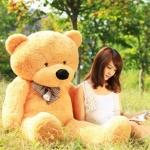 ตุ๊กตาหมียิ้มผูกโบว์ Teddy 2 เมตร สีน้ำตาลอ่อน ตุ๊กตาตัวใหญ่น่ารักน่ากอด