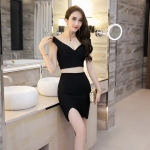 [Preorder] เดรสออกงานกลางคืนแฟชั่นเซ็กซี่ สีดำ (ไซส์ S M L) Nightclub sexy women summer 2016 split deep V sleeveless dress package hip A-line skirt two-piece black skirt