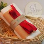 เซตผ้าขนหนูสำหรับเย็บตุ๊กตาหมี 2 ตัว - โทนสีครีม