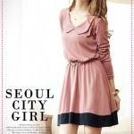 เดรสแขนยาวแฟชั่นสีชมพู 2012 new gentle nostalgic retro doll collar waisted splicing dress
