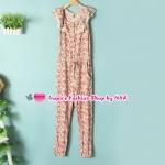จั๊มสูทขายาวลายดอกไม้สีชมพู Summer new female fashion Korean version of sweet lace collar casual piece pants Floral feet jumpsuit Code
