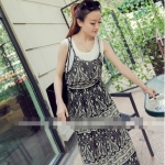พร้อมส่ง CODE 417 TRIBAL RETRO CHIFFON DRESS