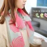 ♥♥ สีเขียวกับสีชมพูพร้อมส่ง ♥♥ ผ้าพันคอลายวงกลมสวยๆ