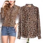 [Preorder] เสื้อเชิ๊ตแฟชั่นแขนยาวสไตล์ยุโรป ลายเสือดาวสีน้ำตาล (ไซส์ S M L XL) 2014 early autumn new women's high-end European and American big big yards was thin leopard casual long-sleeved shirt shirt female clothing