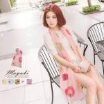 ♥♥ สีชมพูพร้อมส่ง ♥♥ ผ้าพันคอเนื้อดีลายดอกสวยๆ พื้นสีชมพูหวานๆ