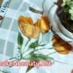 ผ้าพันคอ ผ้าคลุมไหล่พิมพ์ลาย : ลายดอกทิวลิปสีน้ำตาล