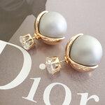 ต่างหูแฟชั่น Dior มุกเทาด้าน หุ้มเปลือกทอง