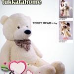 ตุ๊กตาหมียิ้มผูกโบว์ Teddy 1.2 เมตร สีขาว ตุ๊กตาตัวใหญ่น่ารักน่ากอด