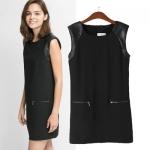 [Preorder] เดรสแฟชั่นแขนกุดสไตล์ยุโรป สีดำ (ไซส์ S M L) 2014 Hitz European and American style leather trim double pocket zip shoulder pad shoulder sleeveless dress bottoming dress women