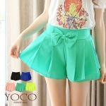 ♥♥ สีเขียวพร้อมส่ง ♥♥ กางเกงขาสั้นน่ารักๆ มีโบว์ติดตรงช่วงเอว
