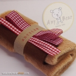 เซตผ้าขนสั้นสำหรับเย็บตุ๊กตาหมี - โทนสีน้ำตาลอ่อน