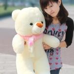 ตุ๊กตาหมียิ้มใส่ผ้าพันคอ ขนาด 1 เมตร ผ้าพันคอ สี ชมพู