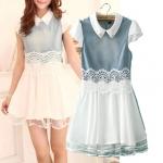 [Preorder] เดรสยีนส์แฟชั่นแขนสั้นประดับโครเช่ต์ลายดอกไม้ (ไซส์ S M L XL) 2014 summer denim dress women dress chiffon organza lace stitching A small fresh tutu word