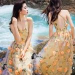 เดรสยาวโทนสีเหลืองส้ม ปักลวดลายดอกไม้