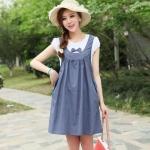 [Preorder] ชุดคลุมท้องสำหรับว่าที่คุณแม่ประดับโบว์ สีฟ้า Cotton skirt pregnant women dress blue bow Maternity leave two short-sleeved summer Korean