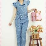 จั๊มสูทยีนส์ขายาวลายจุด 2012 spring new Women Department cute shrug point double-breasted denim coveralls pants trousers