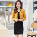 [Preorder] เดรสทำงานแฟชั่นแขนกุดสีดำ + เสื้อสูททำงานแขนยาวสีเหลือง (ไซส์ M L XL XXL) As early as 2014 Hitz female long-sleeved suit was thin waist dress large size women bottoming vest skirt package hip