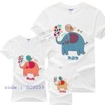 ชุดครอบครัว เสื้อครอบครัว ลายสกรีน ครอบครัวช้าง สีขาว - พร้อมส่ง