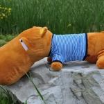 ตุ๊กตาฮิปโป หน้าตากวนๆๆๆ ประกอบซีรี่ย์ Smile again ขนาดเล็ก 0.6 เมตร เสื้อสีฟ้า