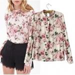 [Preorder] เสื้อแฟชั่นแขนยาวสไตล์ยุโรป ลายดอกกุหลาบ (ไซส์ S M L) European Grand Prix 2014 new fall fashion ladies big flower print small collar shirt sleeve cotton shirt headman