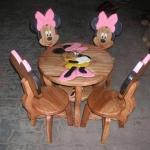 ลาย Minnie Mouse รุ่นมีพนักพิง โต๊ะ ขนาด 18*20 นิ้ว จำนวน 1 ตัว เก้าอี้ ขนาด 10*10 นิ้ว จำนวน 4 ตัว ผลิตจากไม้จามจุรี รับน้ำหนักได้ถึง 70 กก.