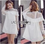 Dress ค็อกเทลเดรสผ้าซาตินทรงคอสูงตกแต่งลูกไม้สีขาว