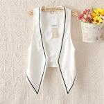 [Preorder] เสื้อแจ๊กเก็ตสูทแฟชั่นแขนกุด สีขาว (ไซส์ S M L) 2014 new Chinese star Shu Qi Zhang Ziyi strongest voice Slim vest with contrast color vest women