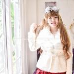 เสื้อกันหนาว แฟชั่นสไตส์เกาหลี สีขาวแต่งเฟอร์