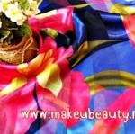 ตัวอย่างผ้าพันคอ ผ้าคลุมไหล่พิมพ์ลาย : ลาบดอกสีชมพูพื้นน้ำเงิน