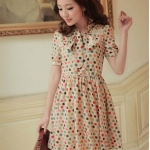 [Preorder] เดรสแขนสั้นลายจุดหลากสี Spring and summer of 2012 the new Women Korean sweet wave point lace chiffon short sleeve dress