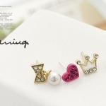ตุ้มหูแฟชั่น Rose pink love heart/ bone / Crown / Bow 4pcs=1set Earring