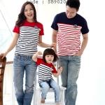 ชุดครอบครัว เสื้อครอบครัว เสื้อยืดคอกลม ลายขวาง มี2สี กรม แดง SB9020 (ระบุสีตอนสั่งด้วยค่ะ) - พร้อมส่ง