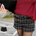 ♥♥ สีดำพร้อมส่ง ♥♥ กางเกงขาสั้นผ้า woolen เนื้อดี โทนสีดำ ตัดลายเส้นสีขาว สวยใส่แล้วน่ารักมากๆ